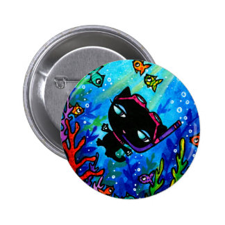 Kitty Bobbin Swims with the Fish Cat Button