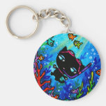 Kitty Bobbin Swims with the Fish Cat Keychain