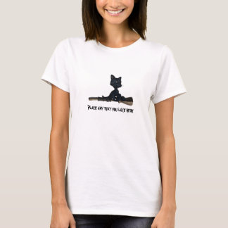 kitty broom stick Halloween T shirt customize
