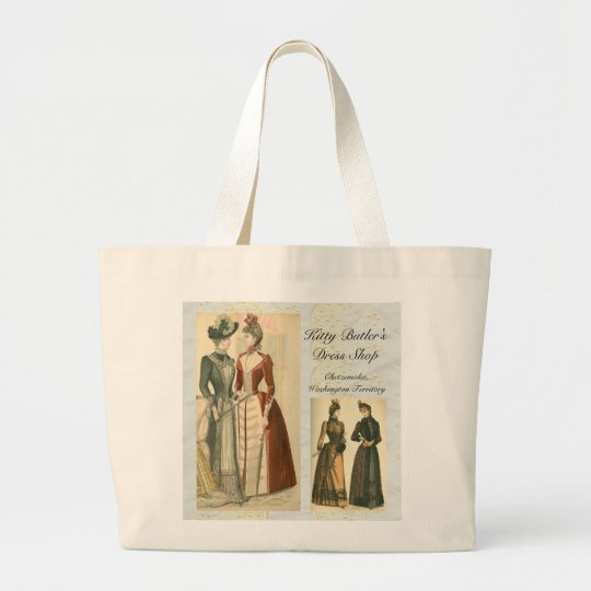 3e61ce194 Kitty Butler's Dress Shop Large Tote Bag   Zazzle.com