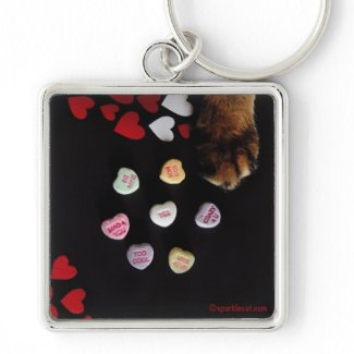 Kitty Candy Hearts Love Keychain