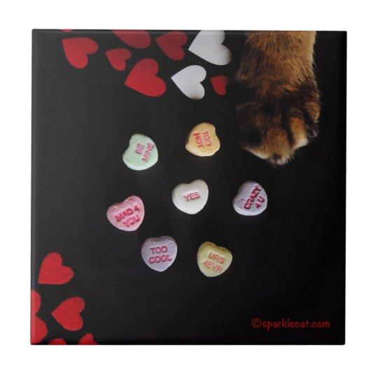 Kitty Candy Hearts Love Tile
