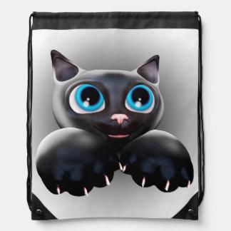 Kitty Cartoon Blue Eyes 3D Drawstring Backpack