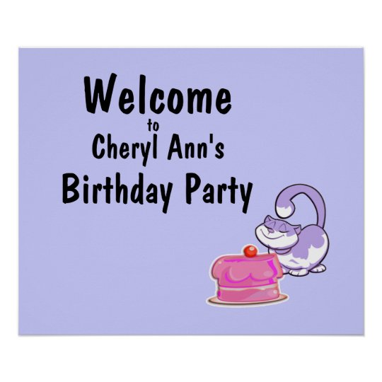 Kitty Cat and Cake Party Welcome Sign