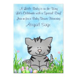 Kitty Cat and Easter Eggs Baby Shower Invitation