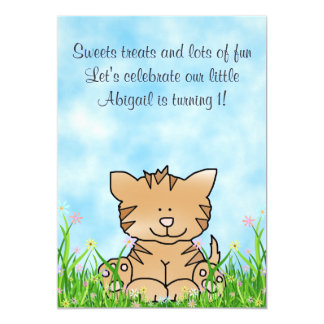 Kitty Cat and Flowers 1st Birthday Invitation