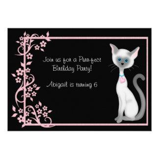 Kitty Cat and Flowers Birthday Invitation ~ Girls
