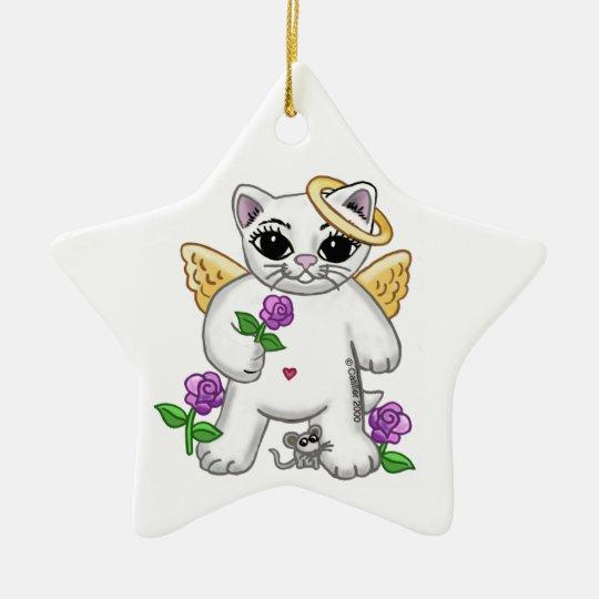 Kitty Cat Angel Ceramic Ornament