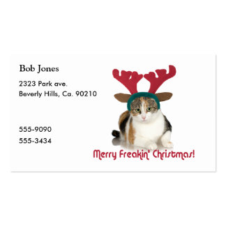 Kitty Cat & Antlers Merry Freakin Christmas Business Card