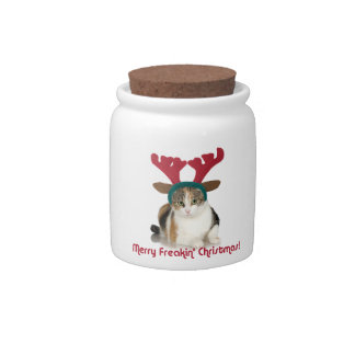 Kitty Cat & Antlers Merry Freakin Christmas Candy Dishes