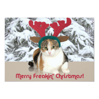 Kitty Cat & Antlers Merry Freakin Christmas 5x7 Paper Invitation Card