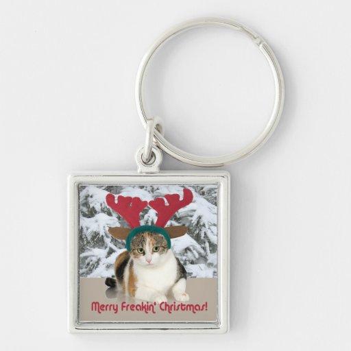 Kitty Cat & Antlers Merry Freakin Christmas Keychain