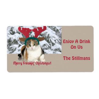 Kitty Cat & Antlers Merry Freakin Christmas Label