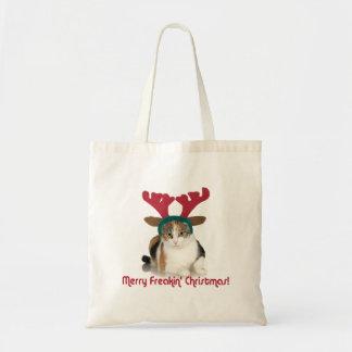 Kitty Cat & Antlers Merry Freakin Christmas Tote Bag