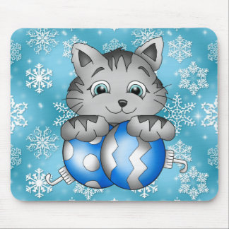 Kitty Cat Blue Snowflakes Christmas Holiday Mouse Pad