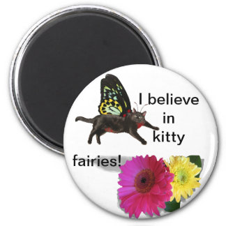 Kitty cat butterfly 2 inch round magnet