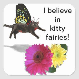 Kitty cat butterfly square sticker