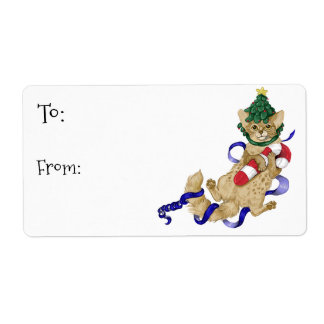 Kitty Cat Christmas Gift Labels