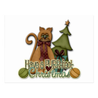Kitty Cat Christmas Holiday Design Postcard
