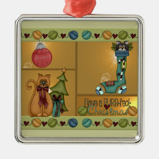 Kitty Cat Christmas Picture Christmas Tree Ornaments
