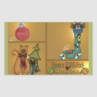 Kitty Cat Christmas Picture Rectangular Sticker