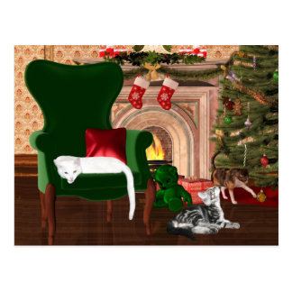 Kitty cat Christmas Postcard