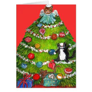 Kitty Cat Christmas Tree Card