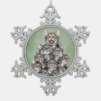 Kitty cat Christmas tree Snowflake Pewter Christmas Ornament
