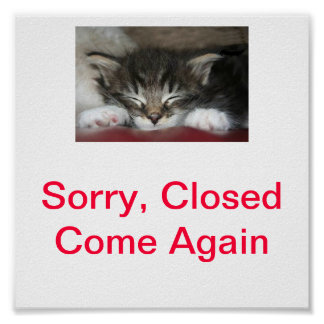 Kitty Cat Closed Sign For Business Posters