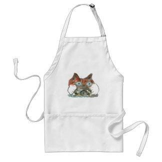 Kitty Cat Clutches his Turtle Pal Adult Apron