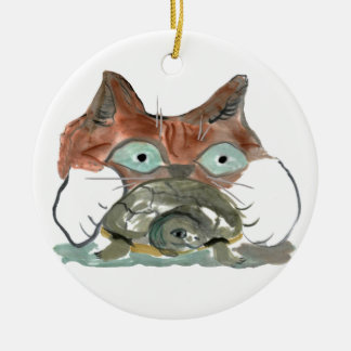 Kitty Cat Clutches his Turtle Pal Ceramic Ornament