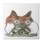 Kitty Cat Clutches his Turtle Pal Small Square Tile