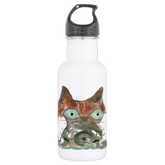 Kitty Cat Clutches his Turtle Pal Water Bottle