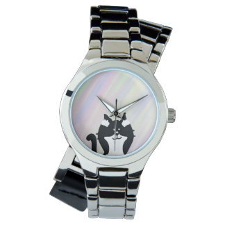 Kitty Cat Covering Ears with Background Wrist Watch