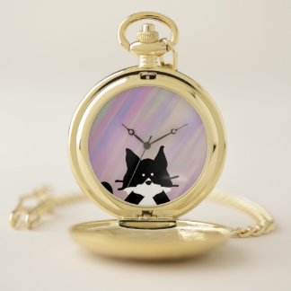 Kitty Cat Covering Mouth with Background Pocket Watch