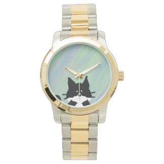 Kitty Cat Covering Mouth with Background Wrist Watch