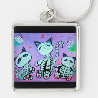 Kitty Cat Cupcakes Silver-Colored Square Keychain