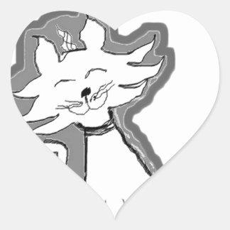 Kitty Cat Design Heart Sticker