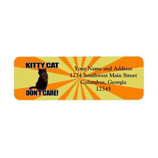 Kitty Cat Don't Care Custom Return Address Labels