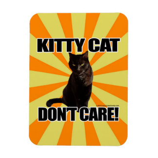 Kitty Cat Don't Care Rectangle Magnets