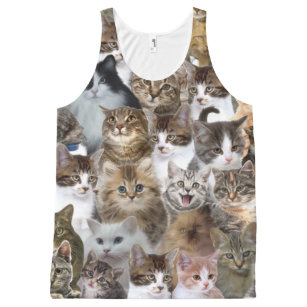 Kitty Cat Faces Pattern All-Over-Print Tank Top