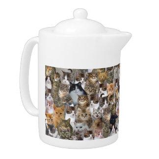 Kitty Cat Faces Pattern Teapot