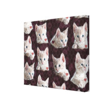 Kitty Cat Faces Pattern With Hearts Image Canvas Print