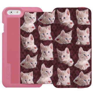 Kitty Cat Faces Pattern With Hearts Image iPhone 6/6s Wallet Case