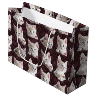 Kitty Cat Faces Pattern With Hearts Image Large Gift Bag