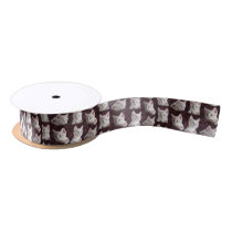 Kitty Cat Faces Pattern With Hearts Image Satin Ribbon
