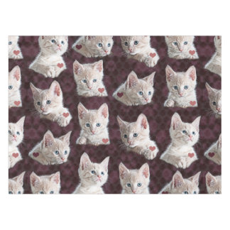Kitty Cat Faces Pattern With Hearts Image Tablecloth
