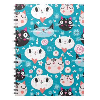 Kitty Cat Faces Spiral Notebook