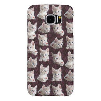 Kitty Cat Faces With Hearts Samsung Galaxy S6 Case