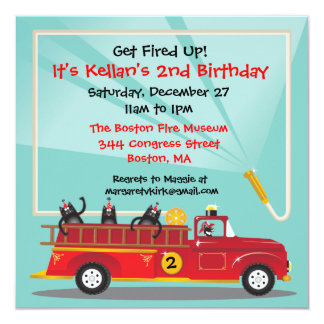 Kitty Cat Firetruck Birthday Party Invitation